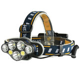 XANES 2606-7 1900LM 3*T6+2*XPE+2*COB 8 Modes Bicycle Headlamp 2*18650 Battery USB Interface