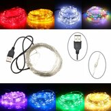 10 M 100 LED USB Perak Kawat Fleksibel String Peri Cahaya Natal Wedding Party Decor