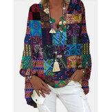 Women Tribal Print Color Block V-Neck Ethnic Style Blouses