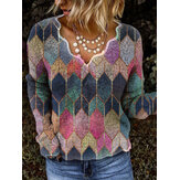 Women Colorful Geometric Printed V-Neck Casual Vintage Long Sleeve Blouse