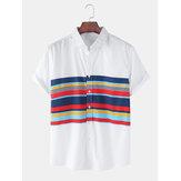 Cotton Mens Stripe Color Block Short Sleeve Lapel Collar Breathable Shirts