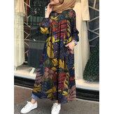 Kadın Retro Çiçek Yaprakları Baskı Düğmesi Aşağı Uzun Kollu Maxi Gömlek Elbise Cepli