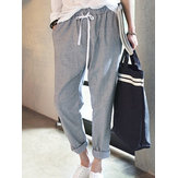Women Striped Drawstring Waist Harem Pants