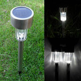 Garden Solar Power White LED Lamp Stainless Steel Waterproof Lawn Yard Light