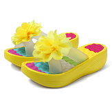 Women Summer Slippers Flip Flops Platform Floral Shoes