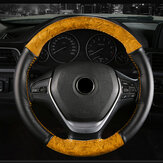 38cm Universal Car Steering Wheel Cover Wooden Leather Braid With Needles Thread
