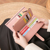 Women 21 Card Slots Solid Long Wallet Purse Phone Bag