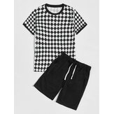 Mens Argyle Print Sets Short Sleeve Drawstring Shorts Casual Two Pieces
