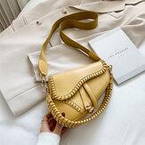 Women Irregular Shape Solid Saddle Bag Shoulder Bag Crossbody Bag