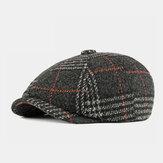 الرجال الصوف النمط البريطاني نمط منقوشة عارضة أزياء مثمنة قبعة قبعة البيريه