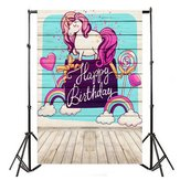 5x7ft feliz cumpleaños Lollipop Unicorn Photography Backdrop Studio Prop fondo
