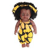 12-Zoll-Simulation Soft Silikon Vinyl PVC Schwarz Baby Mode Puppe 360 ° drehen Afrikanisches Mädchen Perfekt wiedergeboren Puppe Spielzeug für Geburtstagsgeschenk