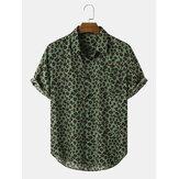 Мужской отворот с леопардовым принтом с коротким рукавом Рубашка