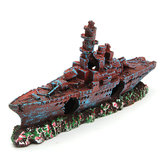 Aquarium Destroyer Navy War Boat Ship Wreck Fish Tank Cave Decorations Ornament