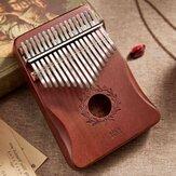 17 Manoplas chave Polegar Piano mogno kalimbas Madeira Instrumento Musical acústico para Iniciantes Com Acessórios