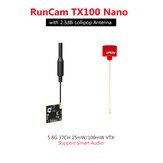 RunCam TX100 Nano 5.8G 37CH 25mW/100mW VTX Smart Audio IPX IPEX with URUAV 2.3dBi RHCP Antenna for RC Tiny Drone Mini FPV Camera FC