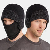 Unisex Dual-use Detachable Mask Plus Thick Warm Windproof Face Ear Protection Headgear Knitted Hat For Riding