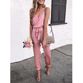 Women Solid Color V-neck Belted Strapless Jumpsuits