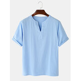Cotton Mens Casual Solid Color V-Neck Short Sleeve T-Shirts