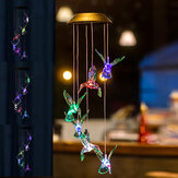 LED Solar Wind Chime Light Color Changing Hummingbird Home Garden Hanging Lamp