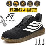 AtreGo رجال شبكة أحذية السلامة العمل الصلب تو كاب المضادة للثقب أحذية المشي لمسافات طويلة الرياضة