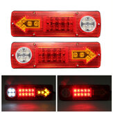2x12V LED Trailer Truck Belakang Tail Brake Berhenti Turn Lampu Indikator Reverse Lamp
