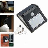 12 LED Alimentação Solar PIR Sensor de Movimento Lâmpada ao Ar Livre Jardim Segurança Luminária Parede