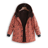 Plus Size Women Leaf Print High Collar Pockets Hooded Coats