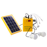 Solar Panel Power Generator Kit 5V USB Charger Home Outdoor System with 2 LED Bulbs Light