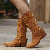 Girassóis femininos retrô Padrão arreios de salto alto com salto alto e botas de cowboy