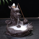 Dragon Fish Backflow Tower Burner Holder Ceramic With 10Pcs Cone Incense Decor