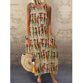 Wanita Vintage Tribal Print Cotton Tanpa Lengan Bohemian Casual Dress