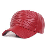 Men Woman Outdoor Sports PU Leather Baseball Cap