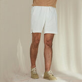 Casual Drawstring Solid Colour Cotton Linen Board Shorts