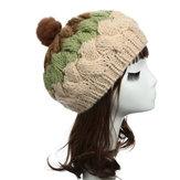 Donne femminile lavorata a maglia del coniglio piatto sfera della pelliccia Berretto regolabile cap berretto elastico