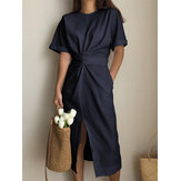 Solid Color Crew Neck Short Sleeve Front Cross Belted Split Midi Dress