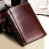 RFID Blocking Genuine Leather Vintage Multi-Card Slots Tri-fold Wallet For Men