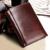 RFID Cartera de la Piel Genuina deBloqueoVendimiacon Ranuras Múltiples para Tarjeta Tríptico Monedero para Hombres