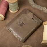 Bullcaptain Cowhide Zipper Portfel Torba na monety Vintage Krótki portfel dla mężczyzn