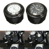 Motorcycle Bike Handlebar Mount Dial Clock Watch 7/8inch 1inch Universal for Harley
