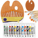12 Colors Painting Paint Set Painting Brush Set with Wood Palette Stationery Student Drawing Pigment for Art Supplies