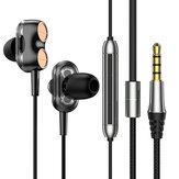Bakeey有線イヤホンデュアルダイナミック7.1サラウンドサウンドベースノイズリダクションインイヤーイヤフォン3.5MMスポーツミュージックゲーミングヘッドフォン(マイク付き)