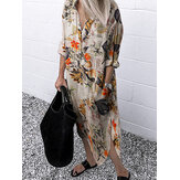 Women Retro Floral Leaves Print Lapel Collar Irregular Hem Button Shirt Dresses With Pocket