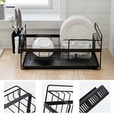Multifunction Kitchen Storage Organizer Dish Drainer Drying Rack Iron Sink Holder Tray For Plate Cup Bowl Tableware Shelf Basket