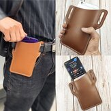 Męska Faux Leather Solid Color Phone Bag Retro Easy Carry Waist Bag Saszetka na pasek EDC z szlufką na pasek
