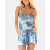 Tie-dye Print Sleeveless Casual Short Jumpsuits