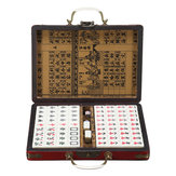 Portable Retro Mahjong Box Rare Chinese 144 tuiles Mah-Jong Set Funny Party Board Game Toy