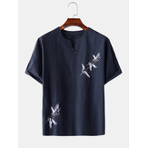 Mens Chinese Linen Red-Crowned Crane Embroidery Camisas de manga curta