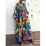 Women Bohemian Art Printed Batwing Sleeve Side Pockets Dress