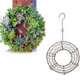 Giardinaggio rotondo ferro appeso vaso fioriera vaso di fiori corona per piante succulente decorazioni